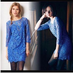 Anthropologie HD in Paris blue lace dress size L